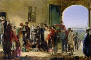 Nightingale che riceve i feriti a Scutari.
